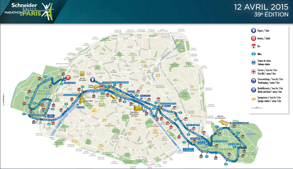 Paris Marathon Months To Go Chafing Thighs - Paris map 2016