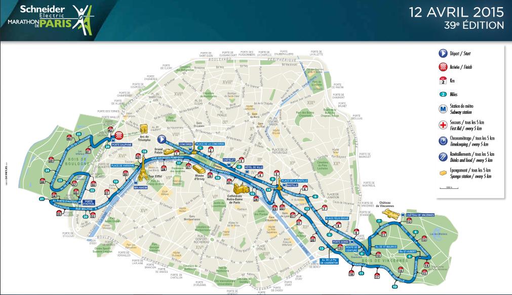 Paris Marathon 2015 map